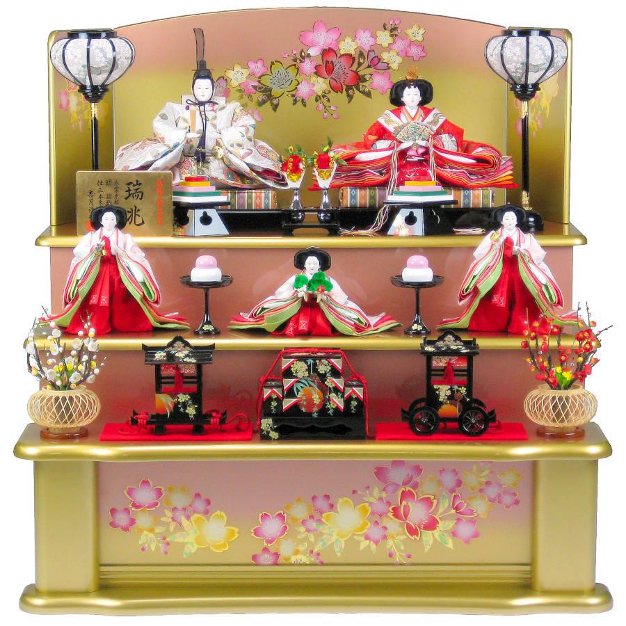 雛人形 ひな人形 吉月作 三段飾り 「瑞兆五人飾り」 yhC-19 西陣織【smtb-s】[半額]