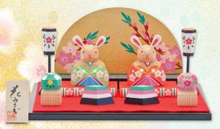 雛人形 ひな人形 木彫り人形 南雲 「花うさぎ」 NU-321 【smtb-s】