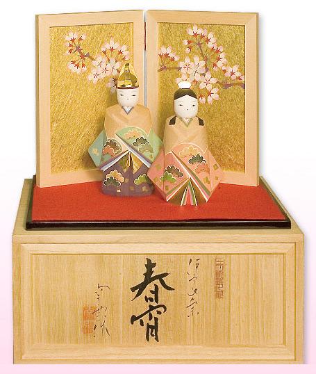 雛人形 ひな人形 木彫り人形南雲 「春宵」 立雛 NU-341 【smtb-s】
