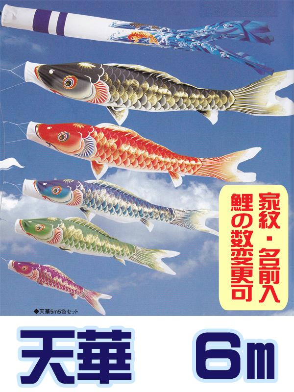 【鯉のぼり ガーデン用 撥水加工】天華6mセット鯉の数変更可  ポール別売【smtb-s】