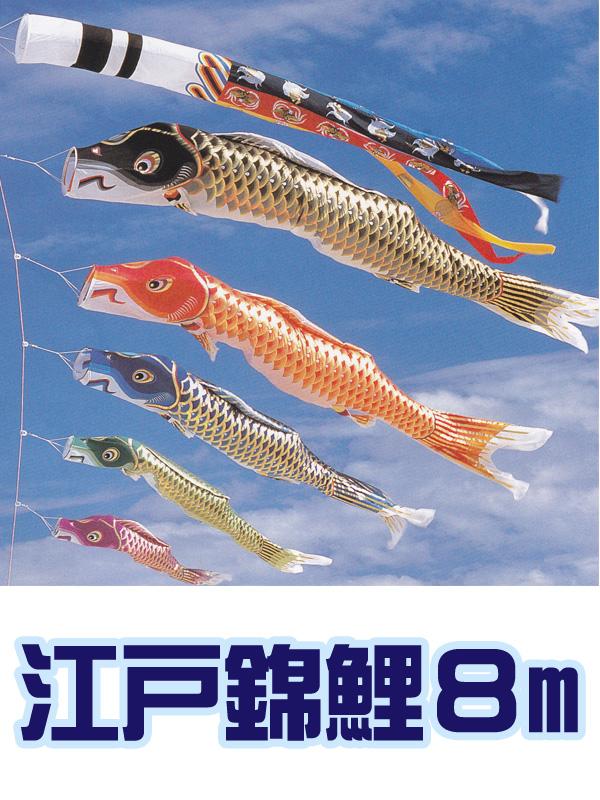 鯉のぼり 庭用 江戸錦鯉 8m 吹き流し 鯉の数変更可 ポール別売【smtb-s】