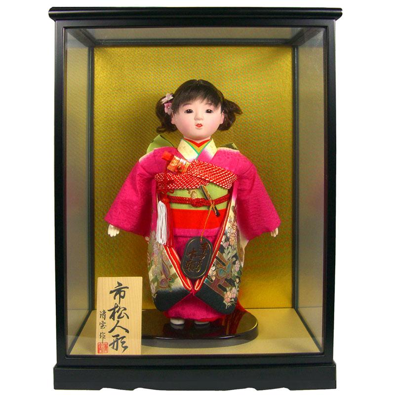 [S]【日本人形 ケース飾り 市松人形】 【5】ケース入り人形 「市松」 10号 【訳あり品 アウトレット】[スーパーSALE]