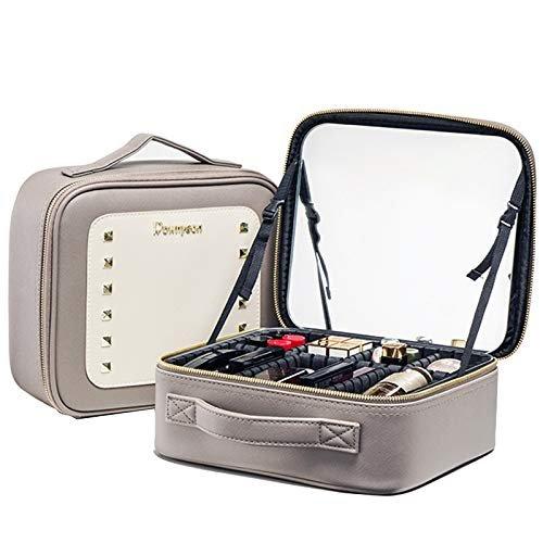 Rownyeon メイクボックス 鏡付き ミニドレッサー コスメボックス 卓上 ドレッサーボックス 持ち運び 仕切り調節可能 ミラー コスメ収納ボックス グレー