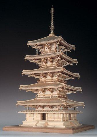 【送料無料】 ウッディジョー 木製建築模型 1/75 法隆寺 五重の塔 レーザーカット加工