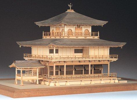 【送料無料】 ウッディジョー 木製建築模型 1/75 鹿苑寺 金閣 白木造り レーザーカット加工