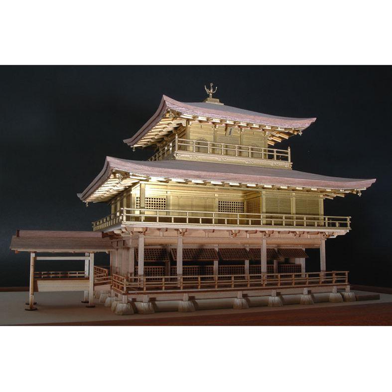【送料無料】 ウッディジョー 木製建築模型 1/75 鹿苑寺 金閣 ゴールド仕様
