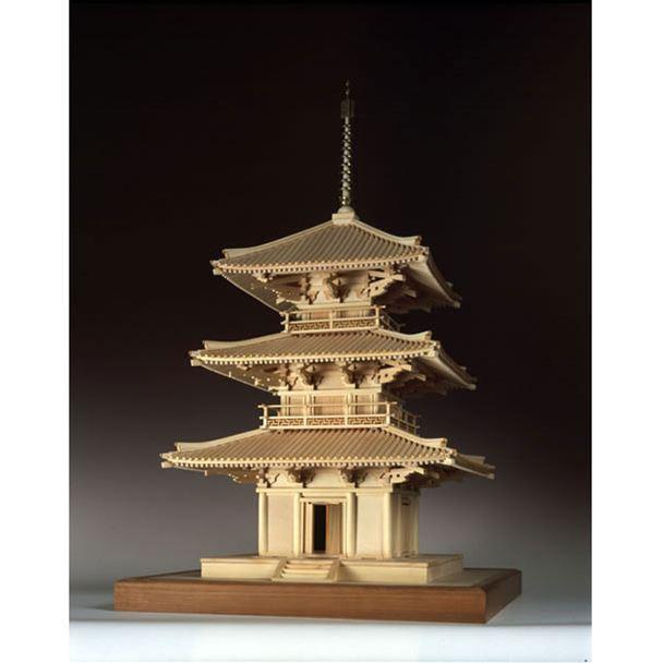 【送料無料】 ウッディジョー 木製建築模型 1/50 法起寺 三重塔 レーザーカット加工