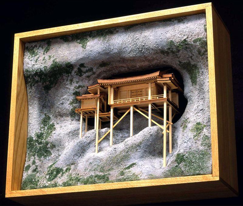 【送料無料】 ウッディジョー 木製建築模型 1/75 三徳山 三佛寺 投入堂 レーザーカット加工