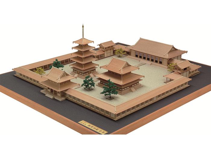 【送料無料】 ウッディジョー 木製建築模型 1/150 法隆寺 西院伽藍 全景 レーザーカット加工