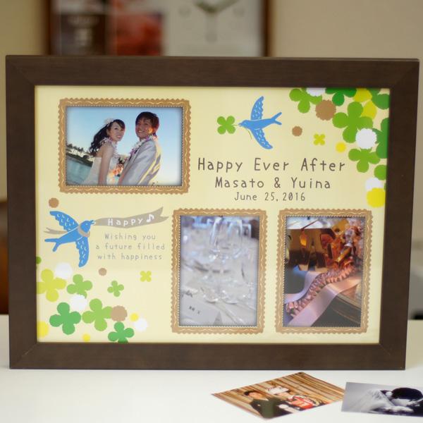 木製フォトフレーム オリジナルフォト窓付き「ハッピーバード」 ブライダルギフト 結婚記念 両親プレゼント 名入れ 写真L判用