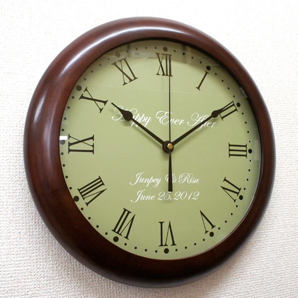 オリジナル時計「シンプルメッセージ」木製壁掛け時計/ 新築祝い・結婚祝い・開店祝い【送料無料】