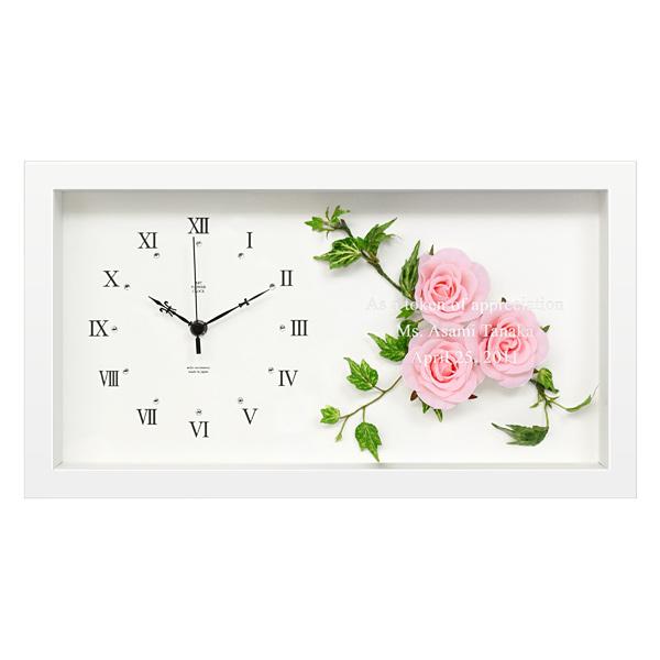 【ガラス彫刻】「ボックスフレームクロック 時計(ピンクローズ)」オリジナル時計/新築祝い,記念品,結婚祝い,出産祝い【送料無料】【ラッピング無料】【代引き不可商品】