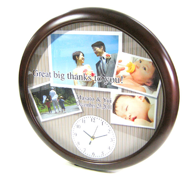 オリジナル時計「思い出写真館 BIGフォトアルバムタイプ」 木製壁掛け時計/ 記念品・贈答品 誕生内祝い・出産祝い・可愛いペット 成長記録 おじいちゃん おばあちゃんなどの贈り物に【送料無料】