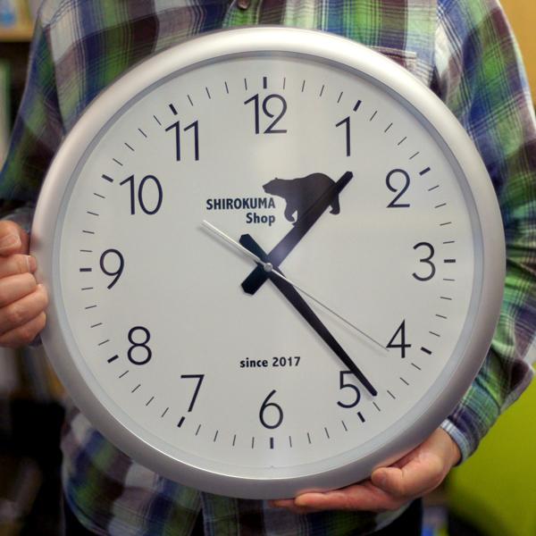 企業ロゴマーク 開業祝い 「シルバー枠42cm壁掛け時計」 記念 周年 創業 【RCP】 会社ロゴ電波時計 竣工 開店祝い 名入れ 開院祝い