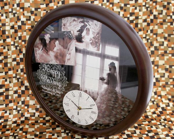 オリジナル時計「ウェディング」BIG木製壁掛け時計 写真タイプ/ 結婚祝い・出産祝い 【送料無料】