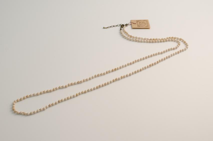 白大理石のロングネックレス(クリーム色)【monshiro】【天然石ジュエリー】