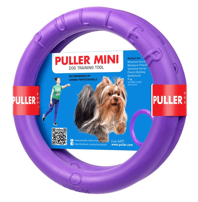 わんちゃん用ドーナッツ型のドッグトレーニング玩具 犬用 爆安 おもちゃ PULLER プラー 予約販売品 MINI 中型犬用 ボール ロープ 2個1組 フライングディスク 小