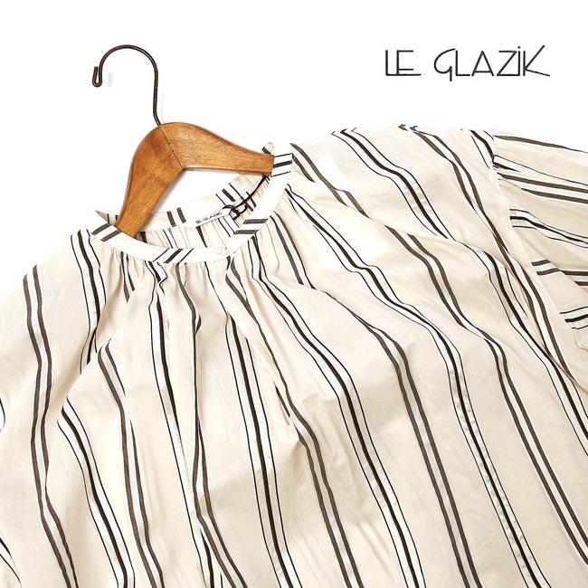 【ポイント10倍&クーポン対象!!3/21PM8時~3/28AM1:59迄】レディース/Le glazik/ル グラジック/ランダムストライプギャザーネックシャツ/品番:JL-3656NAL