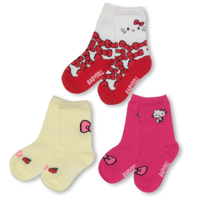 推奨 靴下 フットウェア 3足組# 8 20一部再販 直送商品 サンリオ クルーソックスセット 2966 雑貨 キッズ ベビードール ベビー 子供服 BABYDOLL 女の子