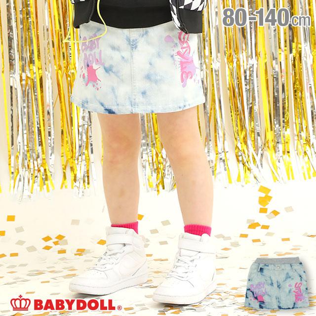 ガールズボトム 現金特価 ミニスカ# NEW 日本製 ラクガキ デニム スカート 4866K 女の子 子供服 ベビードール ベビー BABYDOLL キッズ