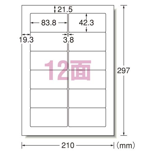 エーワン パソコンラベル汎用12面 (31155)