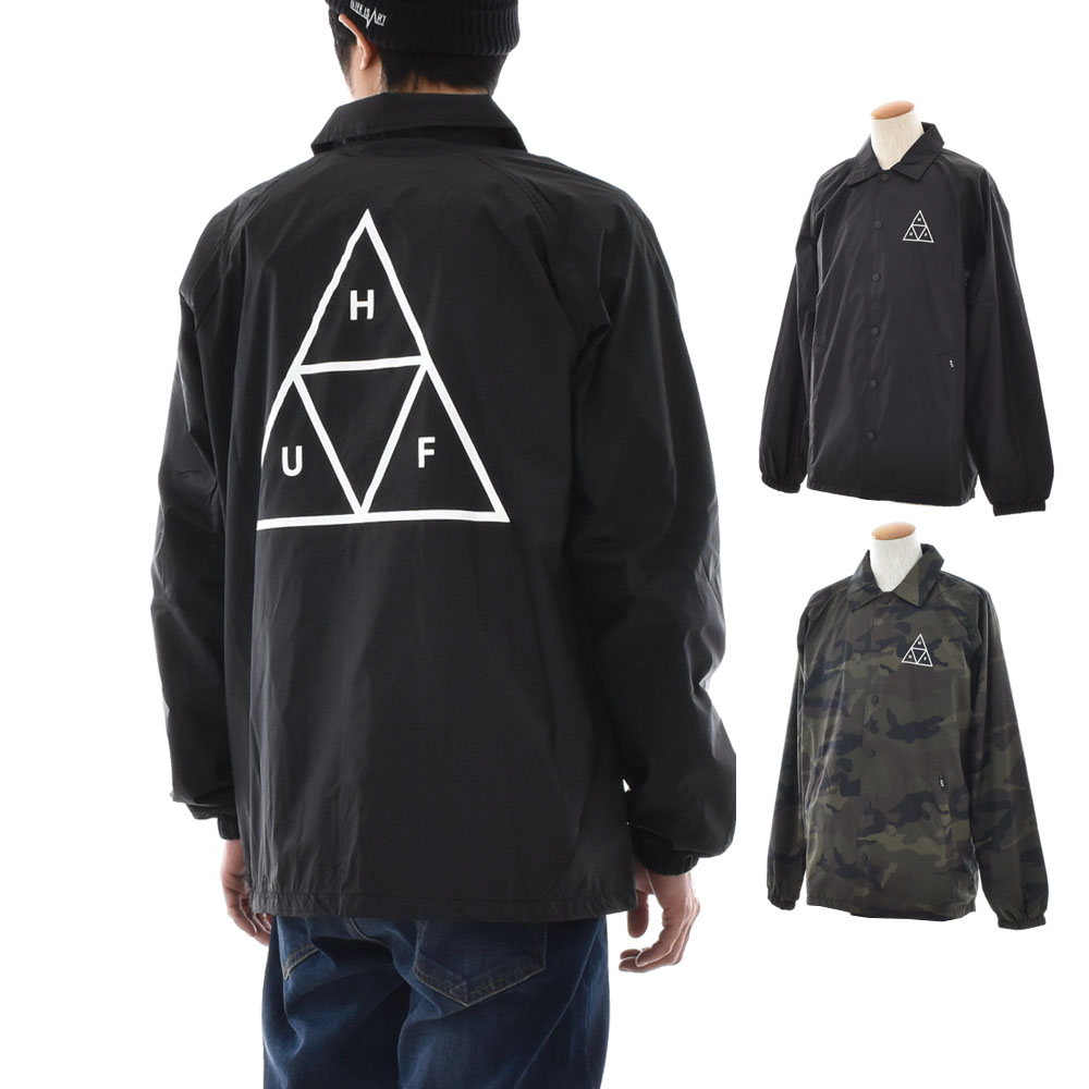 Hough HUF jacket triple triangle coach jacket men blouson outer jacket  nylon jacket 18 brand SK8 skater skateboarding street black camouflage  black TRIPLE ... 36c5ef6e4106