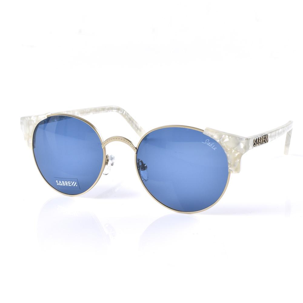 セイバー サングラス SABRE シーナ レディース メンズ uvカット 紫外線 サーモント 大きめ レトロ クラシック パールホワイト マットゴールドメタル ブルー カラー セルフレーム メタルフレーム sunglas SHEENA SV207-1597J