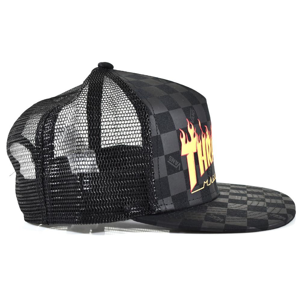 VANS station wagons vans X スラシャー hat trucker mesh cap logo checker  collaboration collaboration VN0A360P09B THRASHER TRUCKER CAP VANS apparel  black a0ac851c9953
