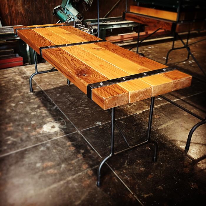 STEEL BELT オリジナル ベンチ 椅子 ウッドチェアー ウエスタンレッドシダーウォルナット ウッド 無垢材 無垢 アイアン ベンチチェア アンティーク ウエスタン 男前インテリア インダストリアル ダイニング 食卓 ウッドデッキ 2人掛け W1200xD360xH440