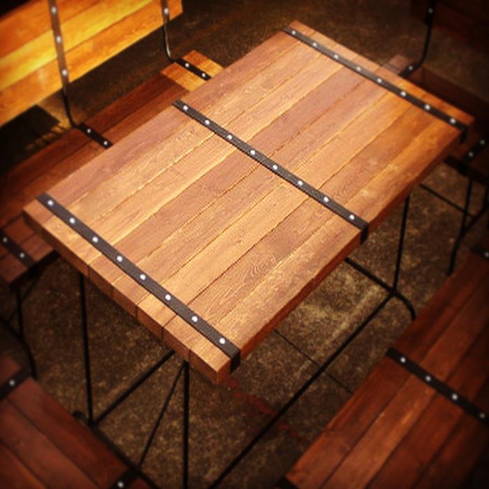 STEEL BELT オリジナル テーブル レッドシダーウォルナット ウッド 無垢材 無垢 アイアン家具 ダイニングテーブル アンティーク ウエスタン アンティーク おしゃれ 男前 インダストリアル 食卓 4人掛 ウッドデッキ 食卓テーブル 1200×D720×H750