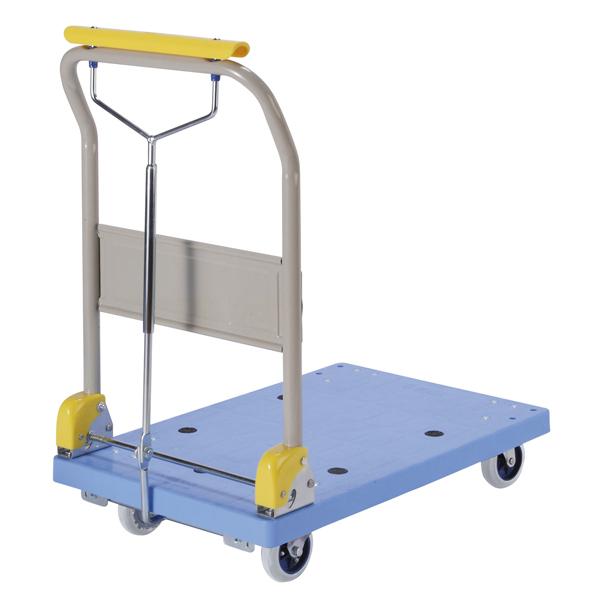 樹脂製運搬車(微音) 折畳みハンドル ハンドブレーキ式 積載荷重:150kg 外寸法:長さ(L)72.5×幅(D)45.5cm 床面高:14.6cm ハンドル高さ:85cm キャスター:φ100・ノンカーボンクリーンゴム・国産キャスター使用 自重(11.5)kg