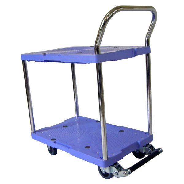 樹脂製運搬車(微音) 固定ハンドル 2段ハンドル フットブレーキ付 積載荷重:150kg 積載面サイズ:長さ(L)71.5×幅(D)46cm 床面高:14.6cm ハンドル高さ:91.5cm キャスター:φ100・グレーゴム・国産キャスター使用 自重(17.7)kg
