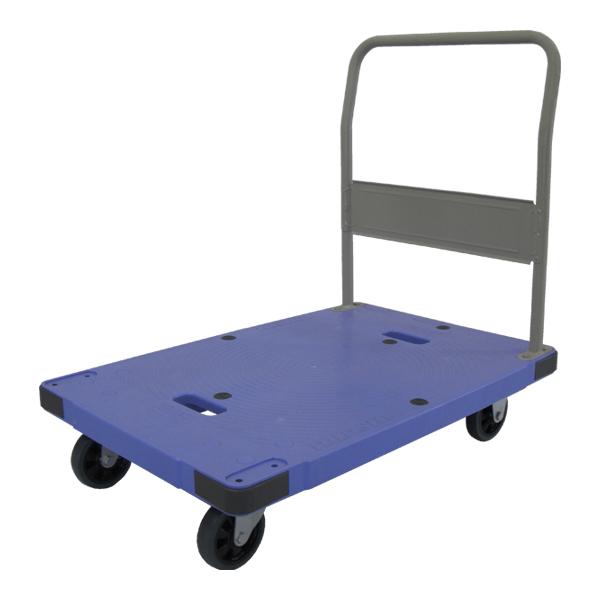 樹脂製運搬車(微音) 固定ハンドル 積載荷重:300kg 積載面サイズ:長さ(L)90×幅(D)60cm 床面高:20.3cm ハンドル高さ:86.1cm キャスター:φ125・グレーゴム・国産キャスター使用 自重(14.1)kg