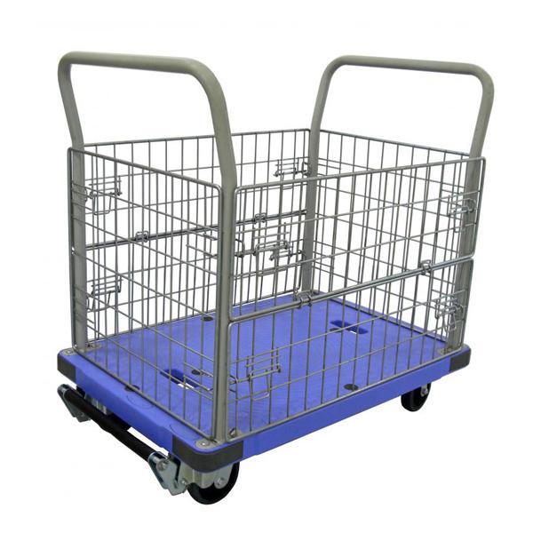 樹脂製運搬車(微音) 固定ハンドル 金網タイプ フットブレーキ付 積載荷重:300kg 積載面サイズ:長さ(L)90×幅(D)60cm 床面高:20.3cm ハンドル高さ:91.4cm キャスター:φ125・グレーゴム・国産キャスター使用 自重(27.5)kg