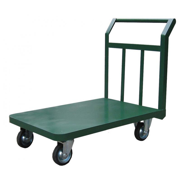 スチールアングル製運搬車 固定ハンドル 積載荷重:400kg 積載面サイズ:長さ(L)60×幅(D)90cm 床面高:21cm ハンドル高さ:85cm キャスター:φ130・グレーゴム・国産キャスター使用 自重(30)kg