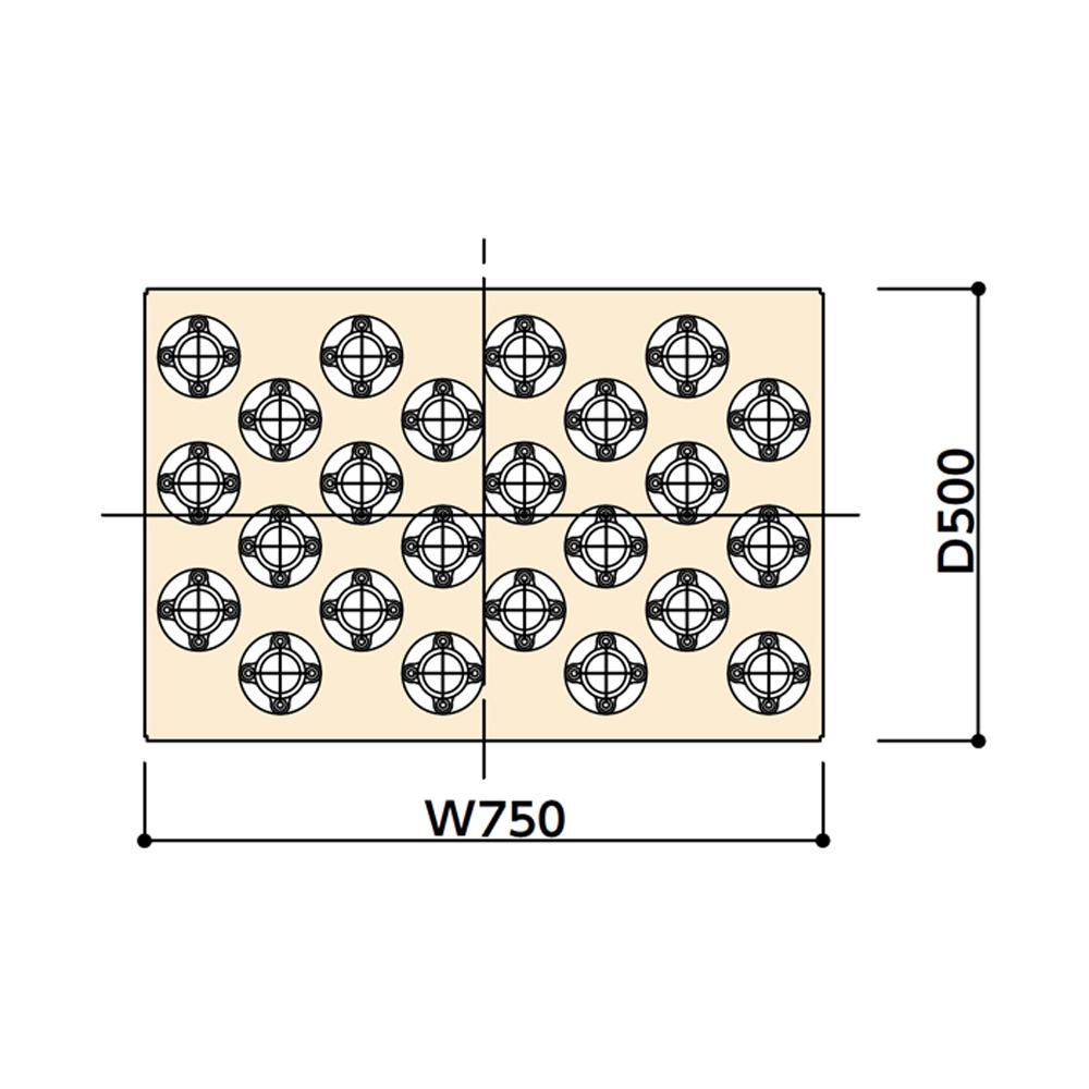 ヤマテック ツーリングワゴン用 追加棚板(ホルダー付) BT-40/NT-40用 [外寸法:W750×D500] 仕様:#50ホルダー24個【お客様組立品】