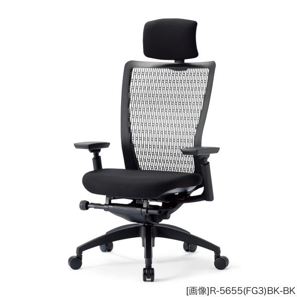 オフィスチェア(事務椅子)樹脂脚タイプ ハイバック肘付きタイプ 外寸法:W67.5×D62×H117~123cm 座高:44.5~50.5cm キャスター:φ60ナイロン双輪キャスター ガス上下機構 シンクロロッキング機構 自重(21.5)kg