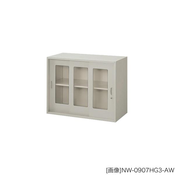 システム収納庫:NWSタイプ ガラス引違い書庫 棚板耐荷重:等分布55kg 外寸法:幅(W)89.9×奥行(D)40×高さ(H)70cm ラッチ機構付き インジケーターキー 自重(27.0)kg グリーン購入法適合商品