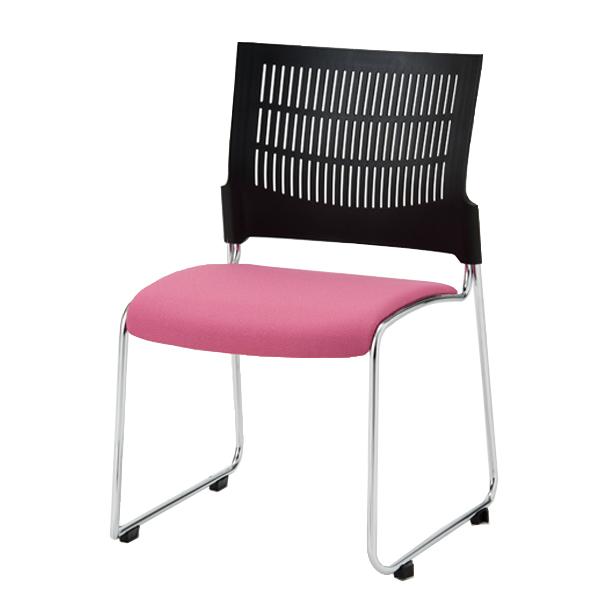 オフィスチェア(事務椅子)ミーティングチェア(会議用) ダイメトロールスリットチェア 布張り 背樹脂ブラック 5脚入 外寸法:W52×D54×H79cm 座高:43cm スタッキング ダイメトロール採用 自重(4.5)kg