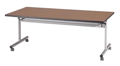 【送料無料】W1500×D750×H700mm 中折れ会議テーブル(棚付き)