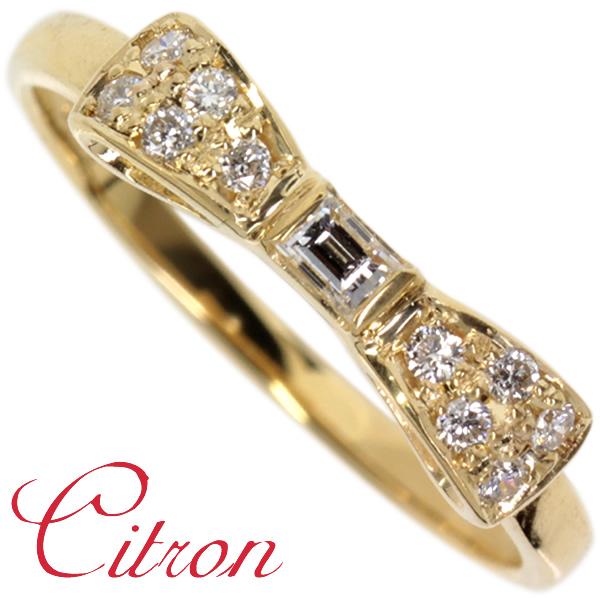 K18ゴールド×ダイヤモンド☆リボンのリング「Citron シトロン」バケットダイヤリング