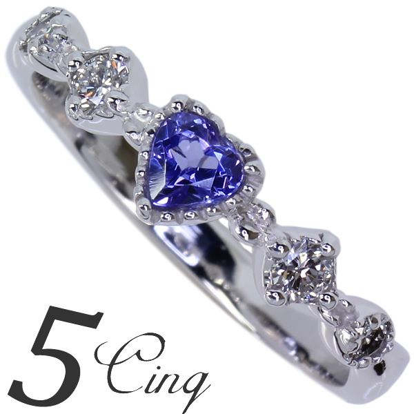 Pt900 タンザナイト×ダイヤモンド◇アンティークリング「5【cinq】サンク」プレミアムリング  ゾイサイト