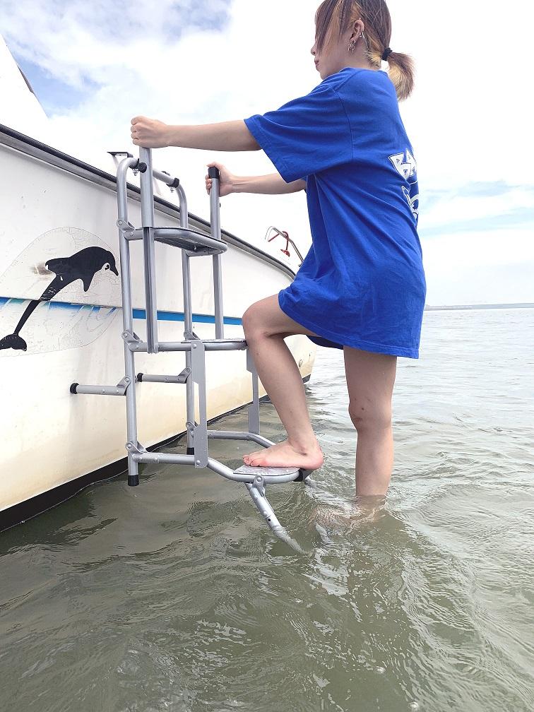 STEPS 4-DS Marine   左右手すり付タイプ船舶用品 パーツ 荷台 階段 足場 便利 はしご 昇降 ステップ 安全 落水対策