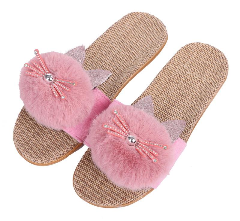 かわいい飾り付き 室内履きは勿論 ゴミ出しなどの近場なら外履きもOK カジュアルサンダル 内外兼用 涼しい麻ソール 期間限定今なら送料無料 安売り 猫 レディース ピンク ふんわり柔らかEVAソール