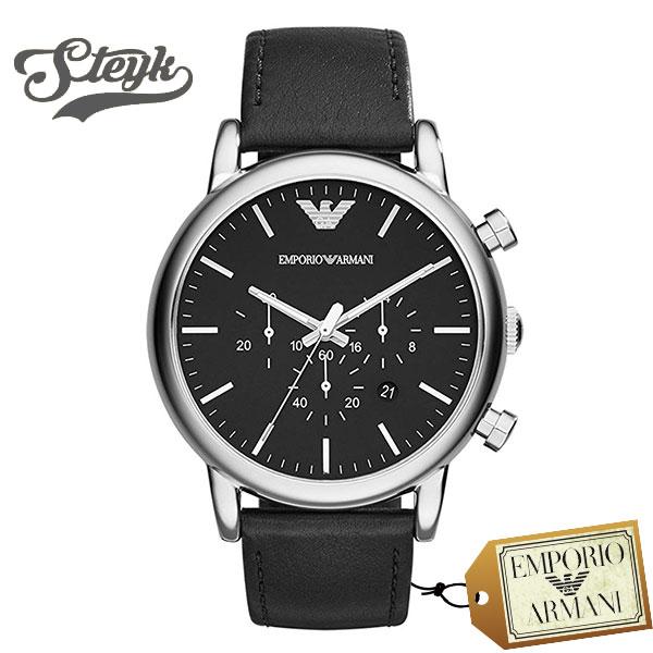 Emporio Armani AR1828 エンポリオアルマーニ 腕時計 アナログ LUIGI Classic メンズ ブラック シルバー ビジネス