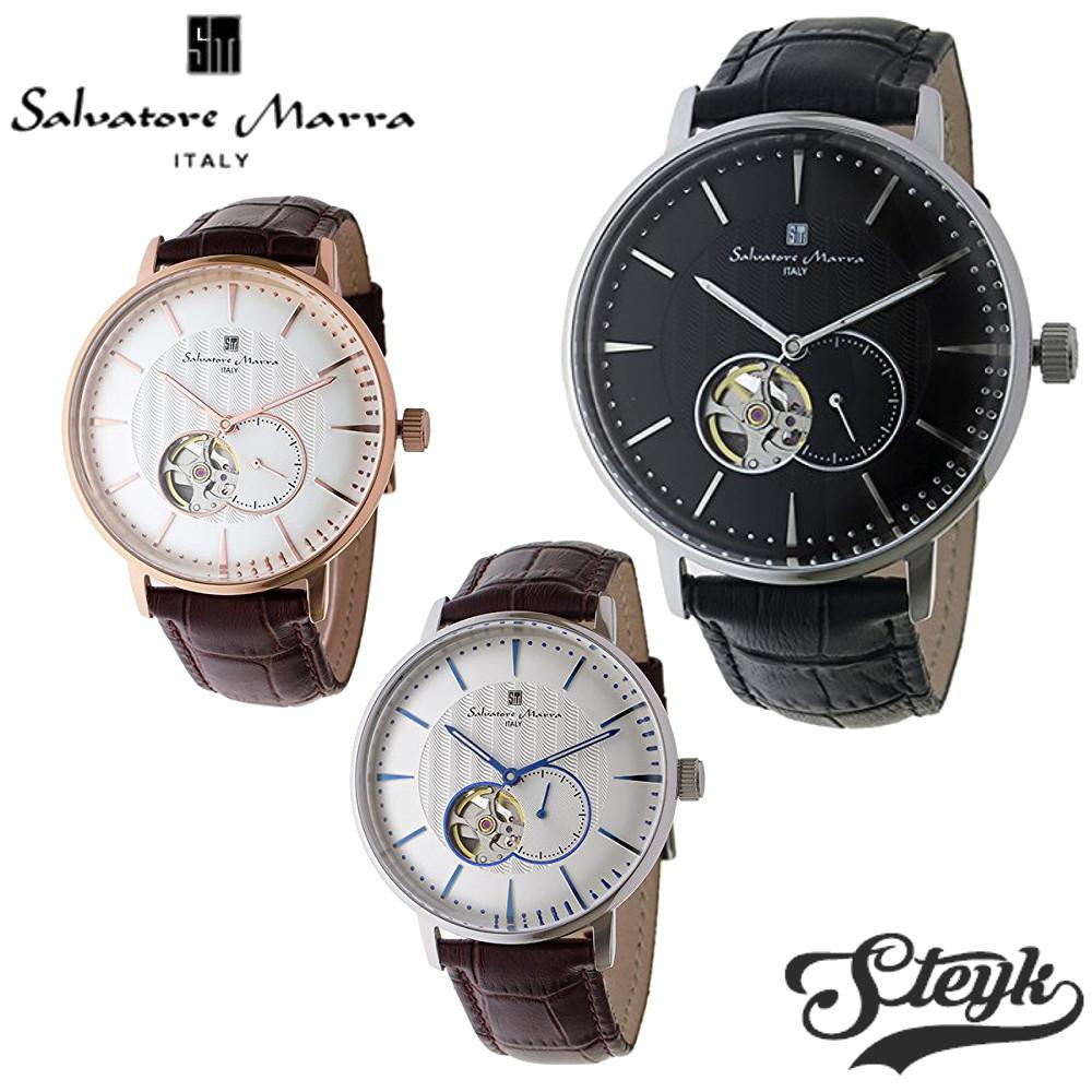 【あす楽対応】Salvatore Marra サルバトーレマーラ 腕時計 アナログ 自動巻き オートマチック スモールセコンド SM17114-SSWH・SM17114-SSBK・SM17114-PGWH レザー メンズ【送料無料】