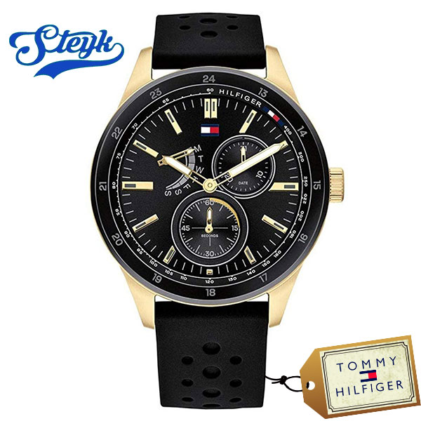 Tommy Hilfiger 1791636 トミーヒルフィガー 腕時計 アナログ Multi-function メンズ ゴールド ブラック カジュアル
