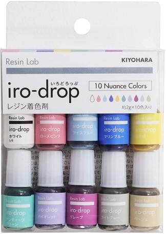 鮮やかな発色で カラフルな作品作りに役立つ Resin Lab iro-drop 感謝価格 いろどろっぷ10色セット ニュアンスカラー 日本製 UVレジンクラフト 激安 激安特価 送料無料 2g×10色 レジンラボ レジンクラフト用着色剤 清原