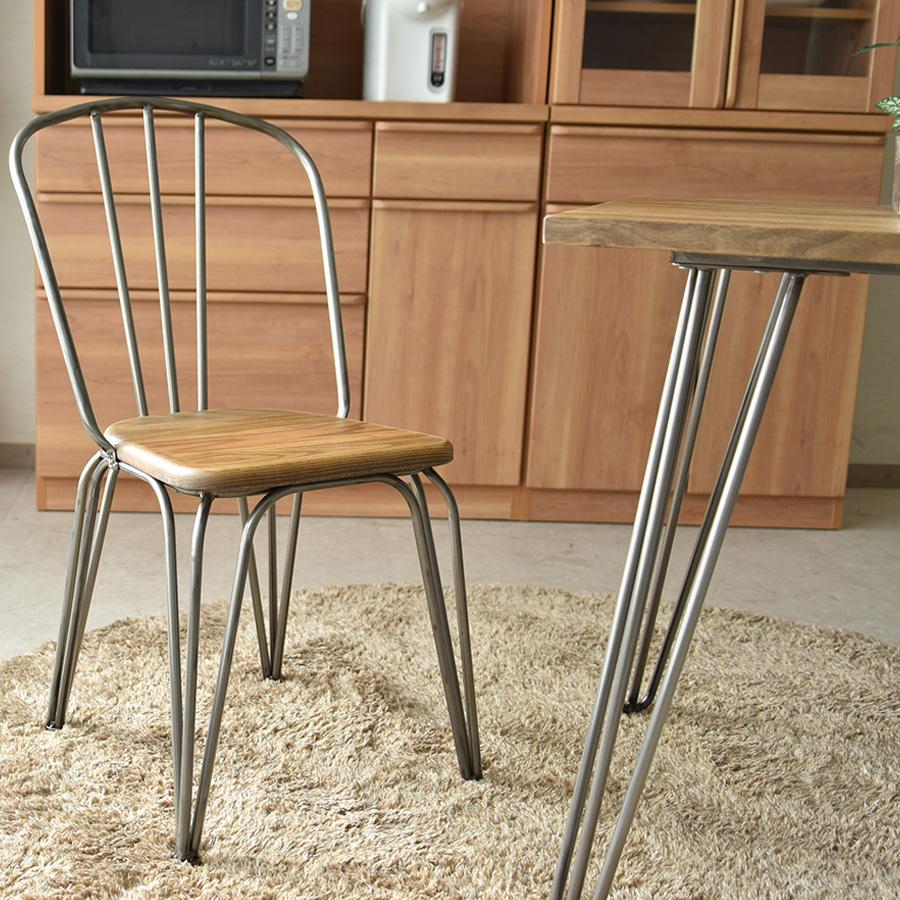 【送料無料】ダイニングチェア 2脚セット アイアン インダストリアル カフェ 無垢材 チェア スチール ニレ エルム材 ニレ無垢材 椅子