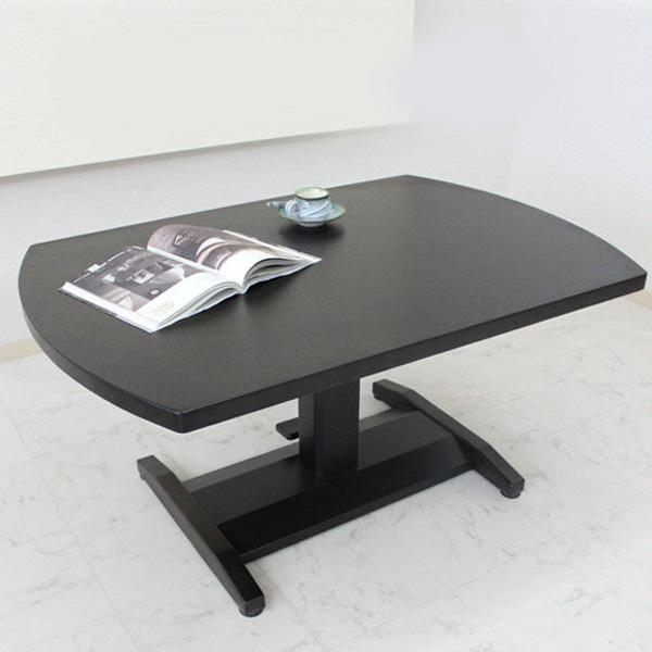 【送料無料】昇降式テーブル 幅120cm 木製 北欧 テーブル センターテーブル 高さ調節 リビングテーブル モダン ホワイト ブラック ダイニングテーブル